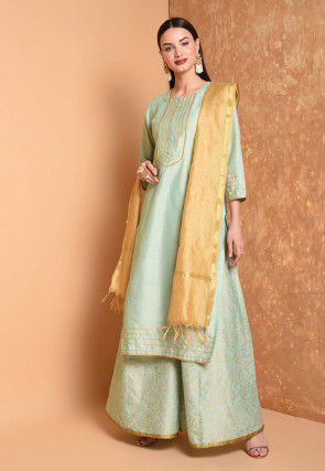 Gota Work Cotton Chanderi Pakistani Suit in Pastel Green