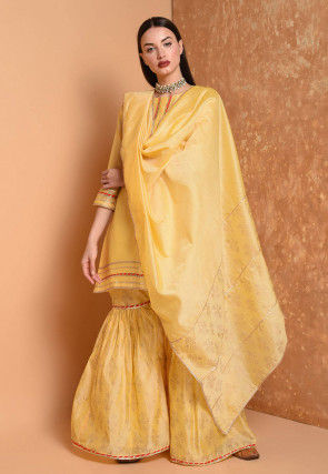 Gota Work Cotton Chanderi Pakistani Suit in Yellow