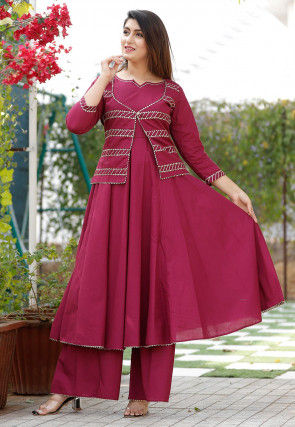 Gota Work Cotton Flared Kurta Set in Magenta