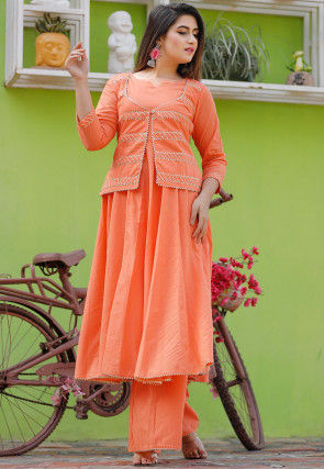 Gota Work Cotton Flared Kurta Set in Orange