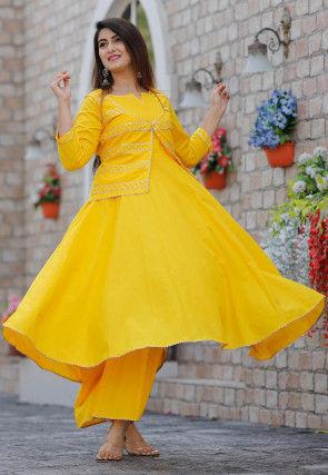 Gota Work Cotton Flared Kurta Set in Yellow