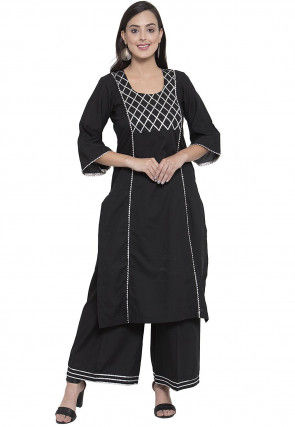 Gota Work Cotton Viscose Straight Kurta in Black