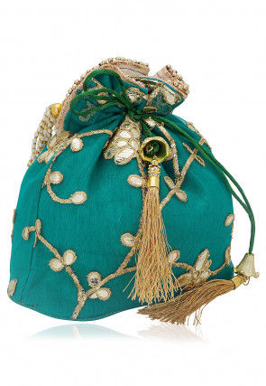 Gota Work Jute Net Potli Bag with Beaded Handle in Teal Blue