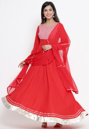 Gota Work Rayon Abaya Style Suit in Red