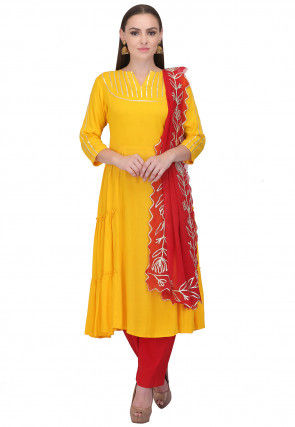 Gota Work Rayon Pakistani Suit in Yellow