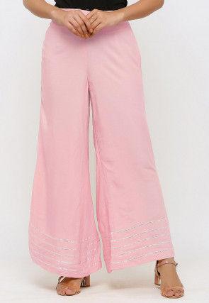 Gota work Rayon Palazzo in Pink