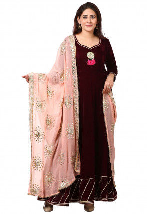Gota Work Velvet Abaya Style Suit in Wine