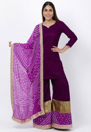 Gota Work Velvet Pakistani Suit in Purple