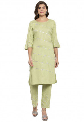 Gota work Viscose Rayon Straight Kurta Set in Light Olive Green