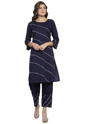 Gota work Viscose Rayon Straight Kurta Set in Navy Blue