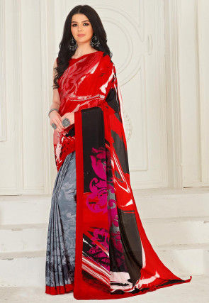 Half and Half Crepe Saree in Red and Grey