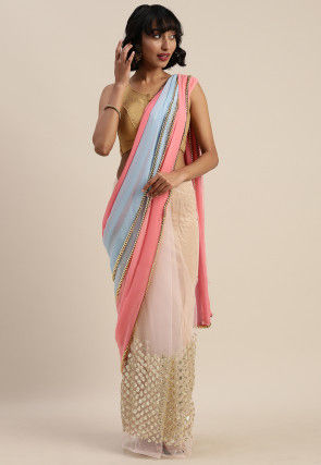 Half and Half Georgette Saree in Multicolor