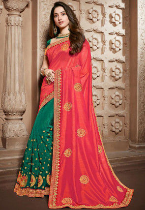 Half N Half Art Silk Saree in Orange and Green