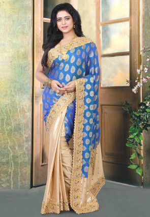 Half N Half Art Silk Jacquard Saree in Blue and Beige