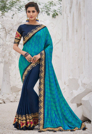 Half N Half Art Silk Jacquard Saree in Blue