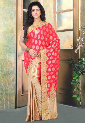 Half N Half Art Silk Jacquard Saree in Fuchsia and Beige
