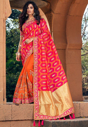 Half N Half Art Silk Jacquard Saree in Fuchsia and Orange