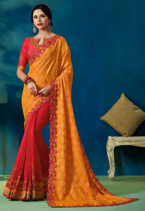 Half N Half Art Silk Jacquard Saree in Mustard and Fuchsia