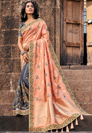 Half N Half Art Silk Jacquard Saree in Peach and Grey