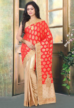 Half N Half Art Silk Jacquard Saree in Red and Beige