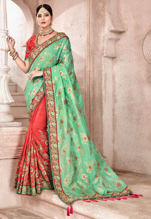 Half N Half Art Silk Jacquard Saree in Sea Green and Red