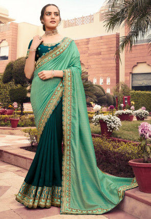 Half N Half Art Silk Jacquard Saree in Sea Green and Teal Blue