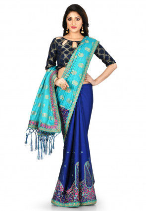 Half N Half Art Silk Jacquard Saree in Turquoise and Royal Blue