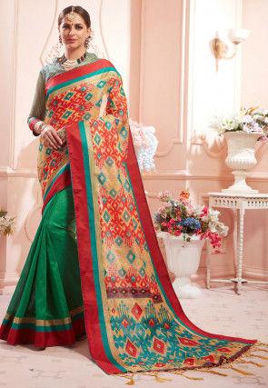 Half N Half Art Silk Saree in Beige and Green