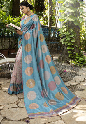 Half N Half Art Silk Saree in Blue and Light Beige