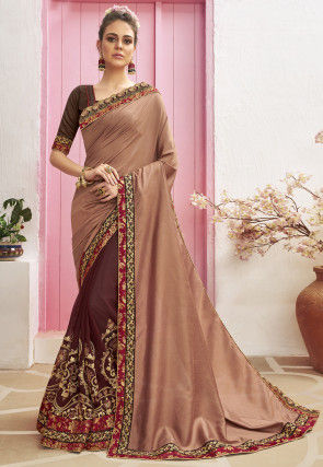 Half N Half Art Silk Saree in Brown