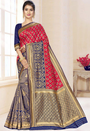 Half N Half Art Silk Saree in Coral Pink and Navy Blue