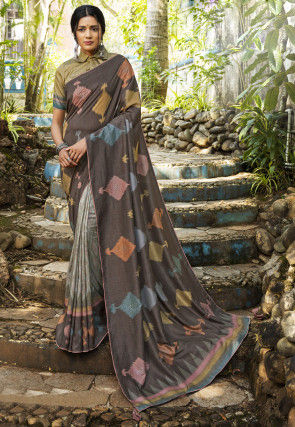 Half N Half Art Silk Saree in Dark Grey and Light Grey