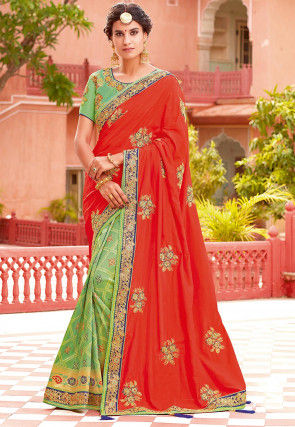 Half N Half Art Silk Saree in Dark Orange and Light Green