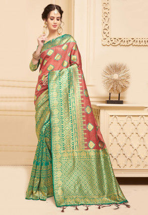 Half N Half Art Silk Saree in Dusty Peach and Teal Green