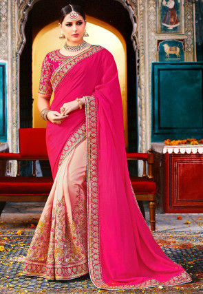 Half N Half Art Silk Saree in Fuchsia and Light Pink