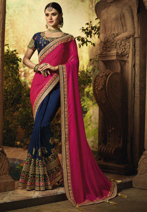 Half N Half Art Silk Saree in Fuchsia and Navy Blue