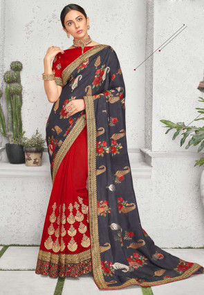 Half N Half Art Silk Saree in Grey and Red