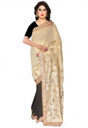 Half N Half Art Silk Saree in Light Beige and Black
