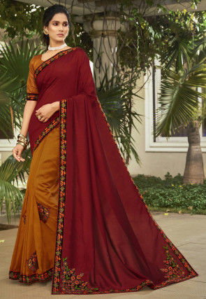 Half N Half Art Silk Saree in Maroon and Mustard