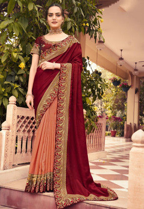 Half N Half Art Silk Saree in Maroon and Pastel Orange
