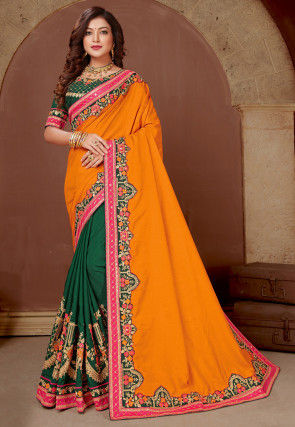 Half N Half Art Silk Saree in Mustard and Dark Green