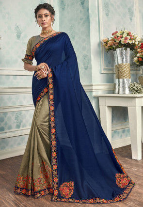 Half N Half Art Silk Saree in Navy Blue and Beige