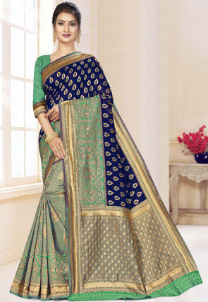Half N Half Art Silk Saree in Navy Blue and Teal Green