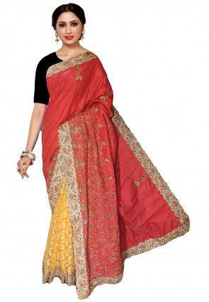 Half N Half Art Silk Saree in Old Rose and Yellow