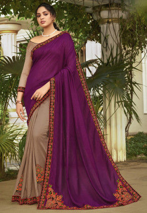Half N Half Art Silk Saree in Purple and Beige