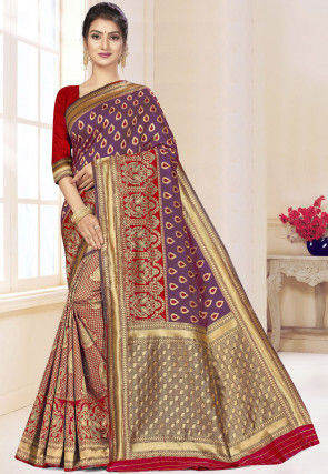 Half N Half Art Silk Saree in Purple and Maroon