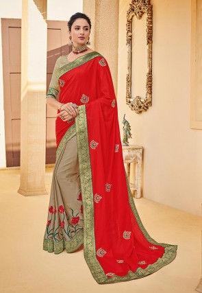 Half N Half Art Silk Saree in Red and Beige