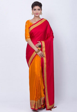 Half N Half Art Silk Saree in Red and Mustard