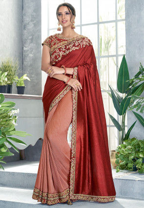 Half N Half Art Silk Saree in Rust and Peach