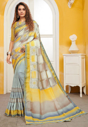 Half N Half Art Silk Saree in Shaded Grey and Yellow